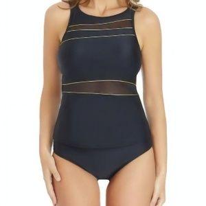 St. John's Bay Mesh Tankini Swimsuit Top  Size 16